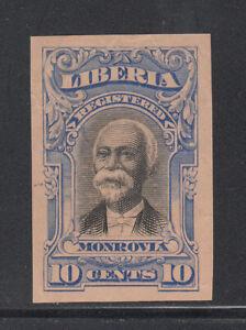 Liberia # F13 IMPERF COLOR TRIAL in BLUE On Pink Paper 1903 Registration Set