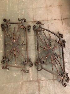 Set of 2 Antique Curved Wrought Iron Spiral Staircase Balustrade Railings
