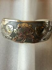 1x Tibetan Silver East Ethnic Totem Flower Bangle Bracelet  Luck Women Jewelry