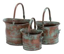Green Tinged Metal Bucket Planter With Handles Set of 3 Plant Care Home & Garden