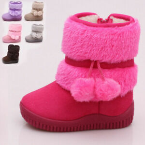 KIDS BOYS GIRLS FUR LINED WARM COMFORT WINTER ANKLE BOOTS SLIP ON SLIPPER SHOES/