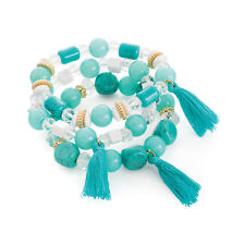 Three Gold Turquoise White Marble Colour Elasticated Bracelet Set Ladies
