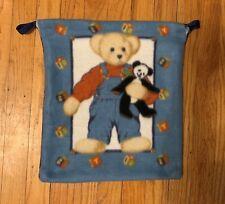 "Handmade Fleece Tote Bag (Teddy Bear)- for child's small blanket 15""W x 16""L"