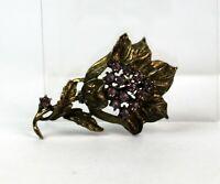 Vintage Violet Rhinestone Gold Tone Floral Flower Brooch