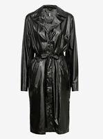 Rains Womens City Overcoat 1710 Jacket Shiny Black S/M