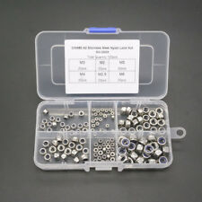 120pcs M2-M6 A2 Stainless Steel Nylon Lock Nuts Metric Assortment Kit