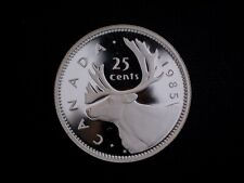1985 Canada 'Frosted Proof' 25 Cent Coin