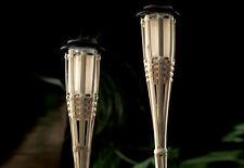 2er Set LED Solar Bambus Fackel Bambusfackel Lampe Solarlampe Leuchte Fackeln