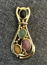 Tigers Eye Rhodonite stones gold Silhouette Scarab Cat Pin Gray Onyx Aventurine