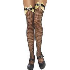 Lattice Net Black Stockings Bows Cogs Ladies Womens Adults Fancy Dress Accessory