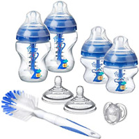 ***Tommee Tippee AAC  Baby Bottle Newborn Starter Set Blue  *** BOX DAMAGE /DAMP