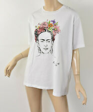NWT TEE and CAKE x TOPSHOP Frida Kahlo Floral Print White Cotton Tee T-Shirt L