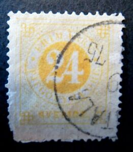 1872 Sweden S# 24,  24 Ore Orange Stamp, Used  Perf Issues