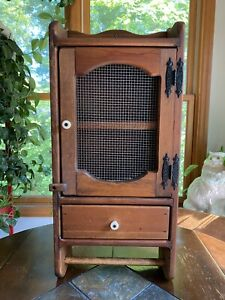 Vintage Handmade Wood Medicine Cabinet Wall Display Cabinet Towel Bar Farmhouse
