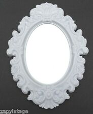 New White Oval SHABBY CHIC / VICTORIAN Gothic Style Plastic Hanging Wall Mirror