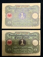 Authentic Germany 2 One Mark 1920 Bill - Uncirculated - Consecutive Numbers