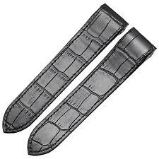 New 23mm Black Alligator Grain Watch Strap Band Compatible With Santos 100 XL
