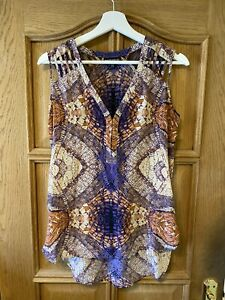 Warehouse Silk Cut Out Scarf Print Sleeveless Blouse Size 12