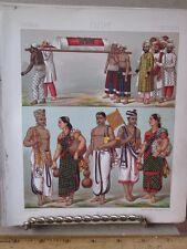 Vintage Print,INDIAN HINDU+MUSULMANS,Le Costume Historique,1888,Racinet