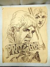Pratiggya Movie Dharmendra Vintage Bollywood Poster Sketch Hand Painted Collec*2