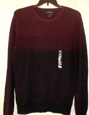 Marc Anthony Mens XXL Sweater Slim Fit Cotton / Cashmere Burgundy Black $70 NWT