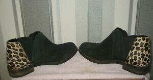 Demi Beat Black/Leopard Print Leather Womens Pull On Chelsea Boots UK Size 6.5