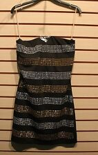 NEW WOMENS JUNIORS SIZE LARGE 11-13 SILVER & GOLD SEQUIN STUDDED TUBE SEXY DRESS