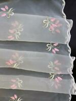 Scalloped Off White Embroidered Floral Tulip Pink Green Sheer Organza Fabric