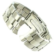 22mm Speidel Stainless Steel Curved End Solid Link Safety Clasp Watch Band 1772