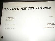 stihl hs 151,hs 202 trimmer illustrated parts list manual,orig,vintage chainsaw