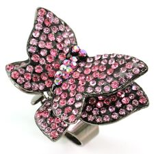Light Pink Double Butterfly Cocktail Ring Antique Silver Tone Crystal Adjustable