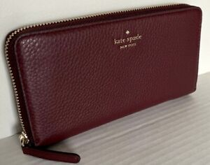 New Kate Spade New York Jackson Large Continental wallet Leather Cherrywood