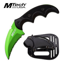 MTECH TACTICAL COMBAT KARAMBIT KNIFE Survival Hunting ZOMBIE GREEN Fixed Blade
