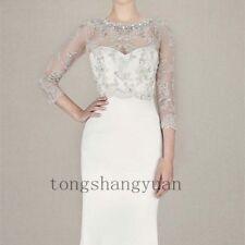 Crystals White Ivory Bolero Wedding Bridal Jacket 3/4 Sleeve Lace Applique Wraps