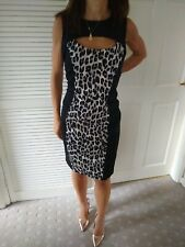 French Connection, Leopard Print Wiggle Dress Black And Grey Size 12 RRP £110