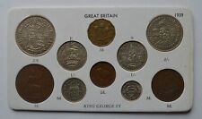 More details for 1939 great britain king george vi 10 coin set including 6 silver