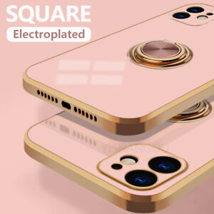 For iPhone 12 11 Pro Max XR XS X 8 7 Square Plating Holder Silicone Case Cover
