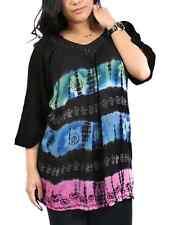 Shoreline tunic top blouse size US 3XL UK 14/16 abstract striped boho peasant