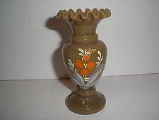 Vintage OLD Small Opaque Glass Khaki Brown Green HP Vase Ruffled Rim BEAUTIFUL