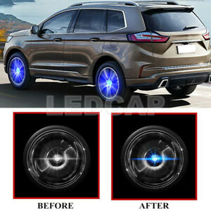 4X Floating LED Illuminated Hub Light Car Wheel Caps Light Fit For Ford 54mm