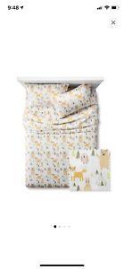Pillowfort™Multicolor 4pc Woodland Whimsy Full Sheet Set Fox Bear Owl Bunny