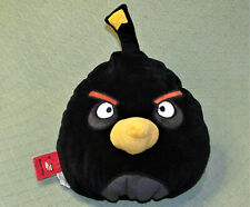 "12"" ANGRY BIRDS BLACK BIRD ROVIO YELLOW BEAK STUFFED ANIMAL PLUSH PILLOW PET TOY"