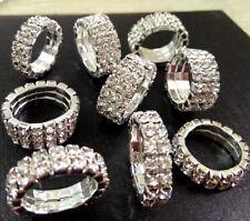 50pcs Luxury Elastic 2 Rows 3 Rows Zircon Rings Women's Crystal Wedding Rings