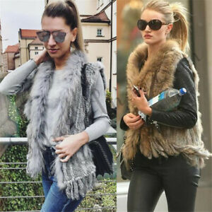 Real Women's Rabbit Fur Vest With Raccoon Fur Collar Kintted Multi-color Furry
