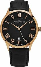 Alexander Statesman Triumph Rose Gold Swiss Made Black Leather Watch A103-05