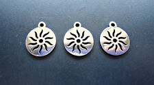 Small Stainless Steel Laser Cut Charms - Sun Rays - Set of 5