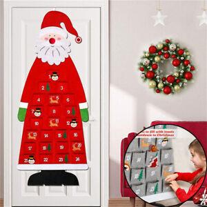 Santa Claus Gnome Large Felt Christmas Advent Calendar with Pockets Xmas Decor