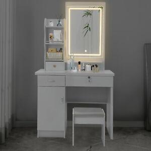 Makeup Vanity Dressing Table Set Dresser Desk Lighted Mirror Drawers w/Stool