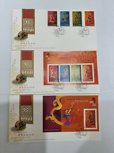 Hong Kong 2000 Year of Dragon FDC 1 set 3 FDC  Toning