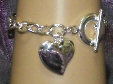 New 925 Sterling Silver Filled Double Heart Chain Toggle Clasp Bracelet